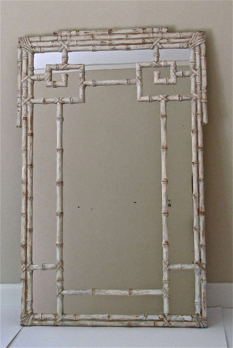 Large Carved Wood Faux Bamboo Wall Mirror. Frame Is Finished In Antiqued  Off White Painted