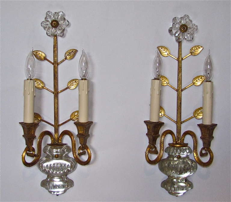 French Crystal Wall Sconces : Pair Bagues French Crystal Gilt Wall Sconces at 1stdibs