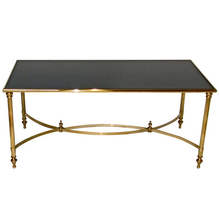 French brass cocktail coffee table for sale at 1stdibs for Cocktail tables for sale used