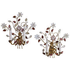 Pair of Bagues Style Floral Gilt Wall Sconces