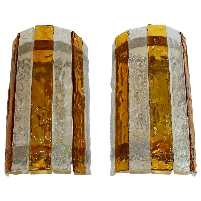 Pair of Large Italian Amber and Clear Glass Wall Sconces For Sale at 1stdibs