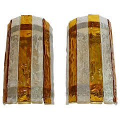 Pair of Large Italian Amber and Clear Glass Wall Sconces
