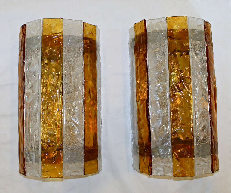 Pair Large Italian Amber and Clear Glass Wall Sconces at 1stdibs