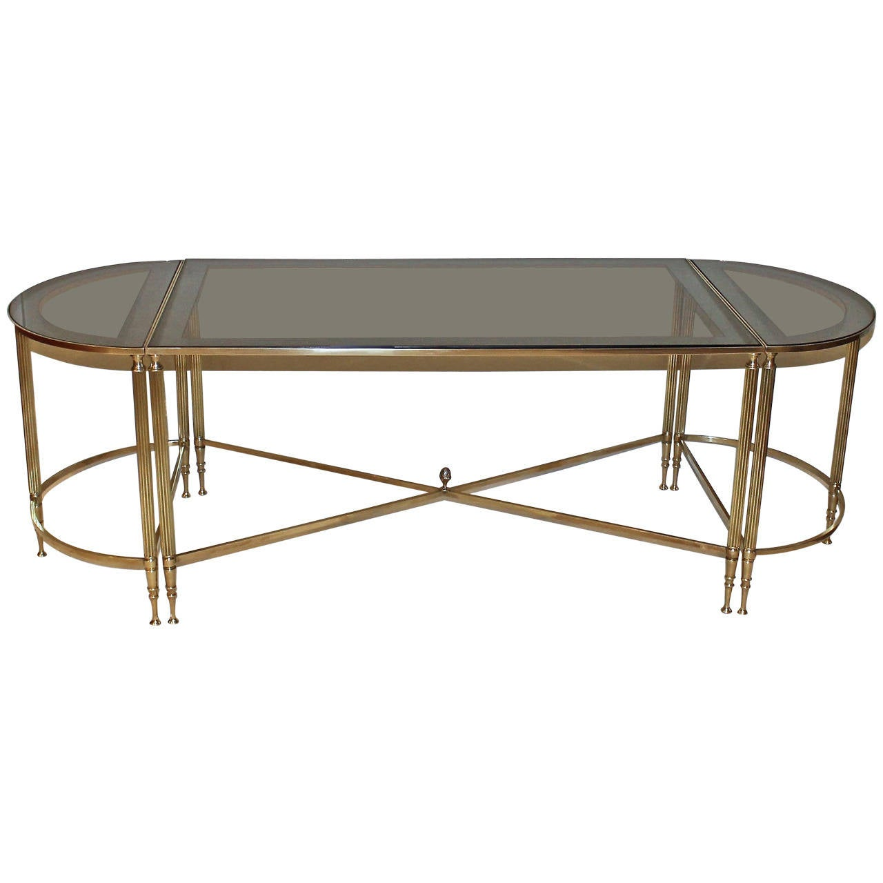 French jansen style three piece brass cocktail table for Vogue coffee table