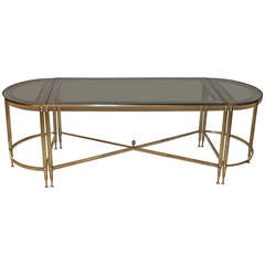 French Jansen Style Three-Piece Brass Cocktail Table