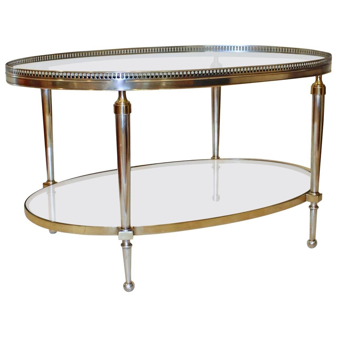 French Silver And Brass Oval Cocktail Coffee Table At 1stdibs