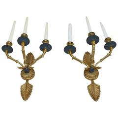 Pair of French Empire Style Doré Wall Sconces