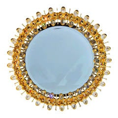 Lobmeyr Round Crystal and Gold Plated Illuminated Wall Mirror
