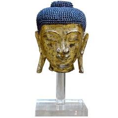 Rare Burmese Gilt Dry Lacquer Buddha Head