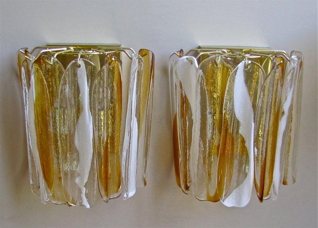 Italian Glass Wall Sconces : Pair Mazzega Murano Italian Glass Wall Sconces at 1stdibs