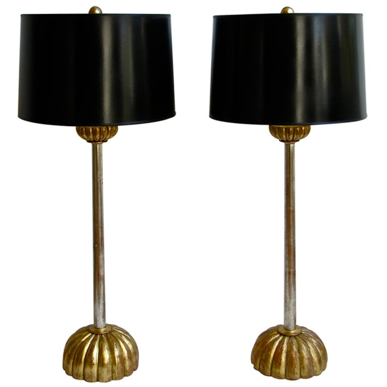 pair modern gold and silver gilt wood lamps at 1stdibs. Black Bedroom Furniture Sets. Home Design Ideas
