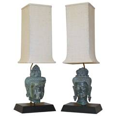 Pair of Bronze Male and Female Buddha Heads Table Lamps