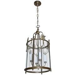 Italian Neoclassic Brass Hall Lantern Pendant Light