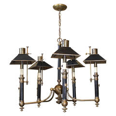 Vintage Chapman Brass Five-Arm Regency Style Adjustable Shades Chandelier
