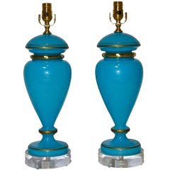 Pair French Bue Opaline Table Lamps