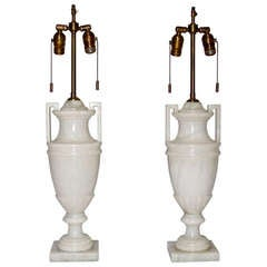 Pair Italian Carved Alabaster Neoclassic Urn Table Lamps