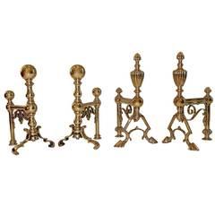 19th Century English Brass Andirons