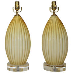 Pair of Butterscotch Cased Murano Glass Lamps