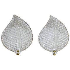 Pair of Clear Murano Glass Leaf Wall Sconces