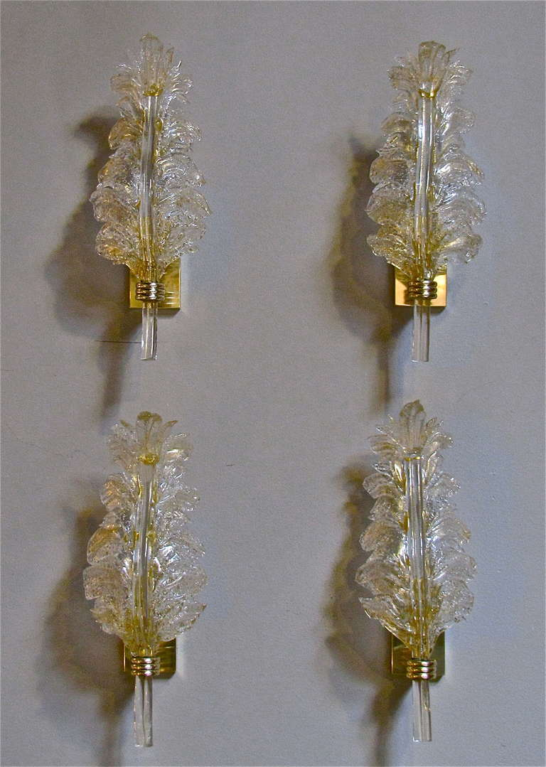 Set 4 Barovier and Toso Murano Italian Glass Leaf Wall Sconces at 1stdibs