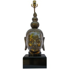 Bronze Budda Head James Mont Style Table Lamp