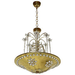Maison Bagues Style Crystal Leaf Chandelier or Pendant Light