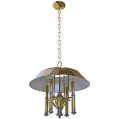 Lightolier Brass and Nickel Four-Light Chandelier