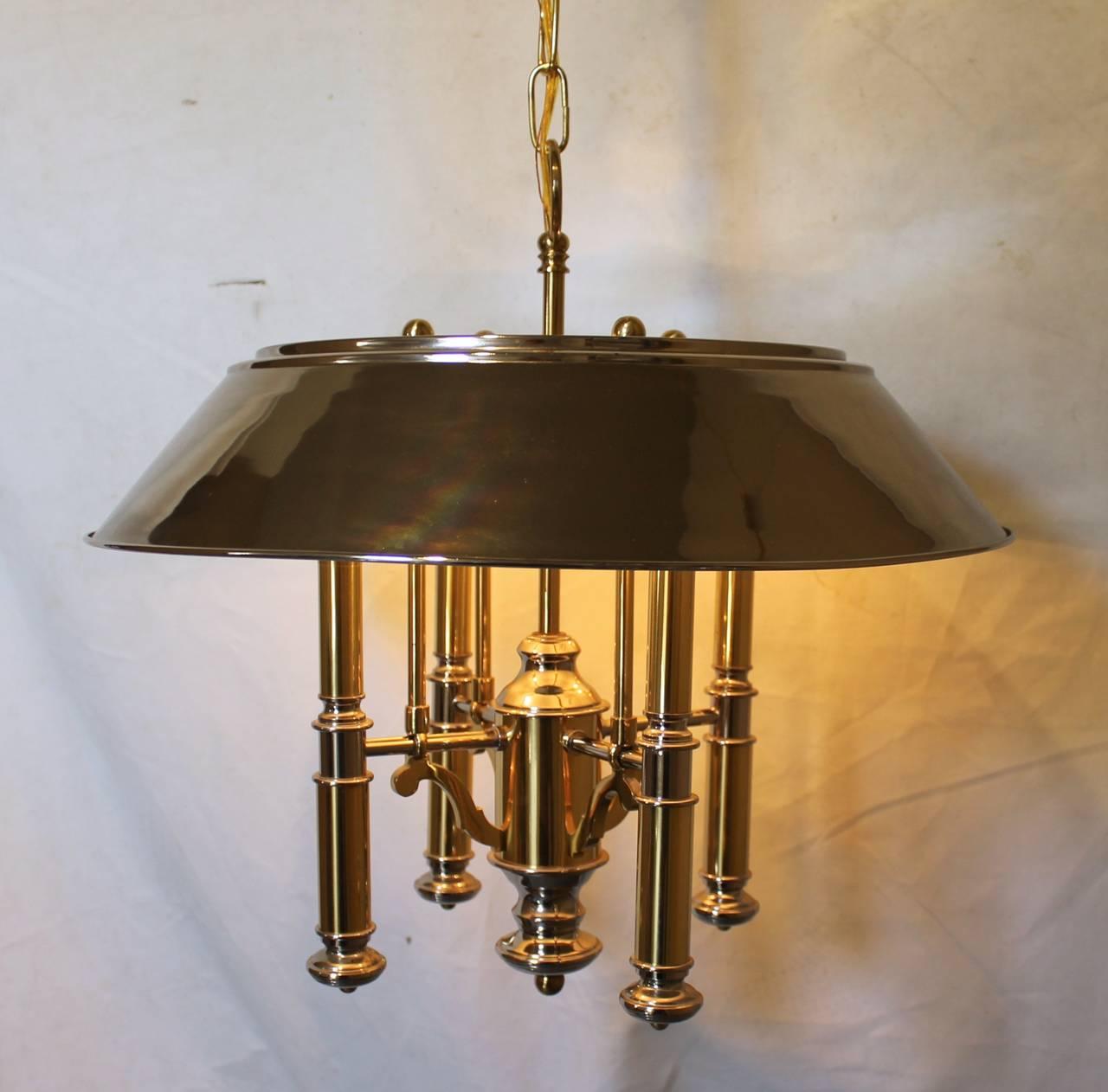 Lightolier Ring Chandelier At 1stdibs: Lightolier Brass And Nickel Four-Light Chandelier For Sale