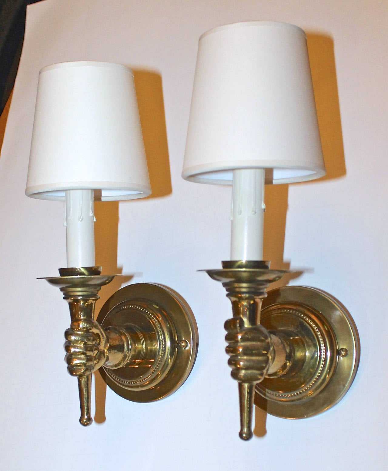 Wall Sconces That Look Like Torches : John Devoluy Hand Torch Bronze Wall Sconces at 1stdibs