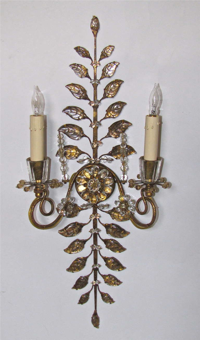Pair French Bagues Gilt Metal Crystal Wall Lights at 1stdibs
