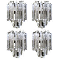 Two Pairs of Venini Italian Triedri Glass Wall Sconces