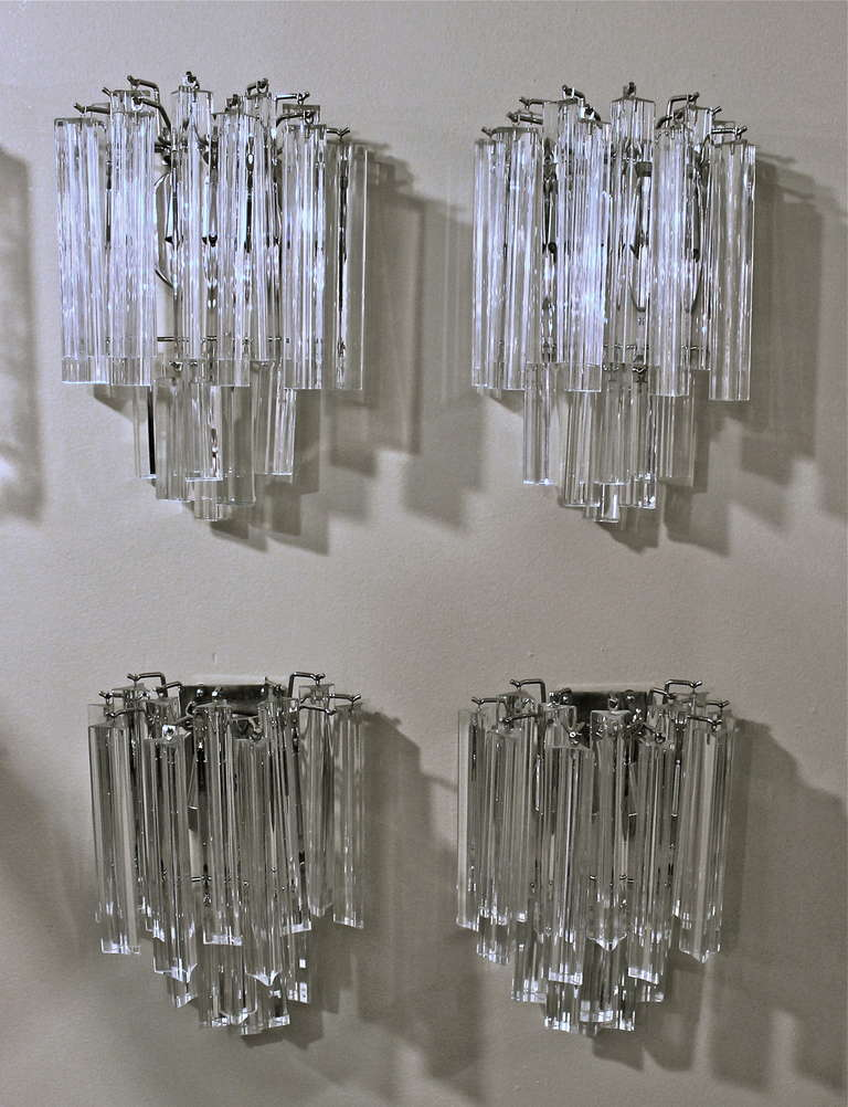 Italian Glass Wall Sconces : Two Pairs of Venini Italian Triedri Glass Wall Sconces For Sale at 1stdibs