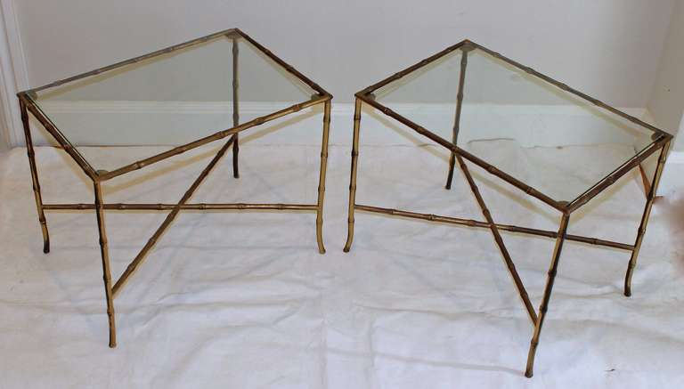 Pair of Bagues Style Faux Brass Bamboo End Side Tables For Sale 4