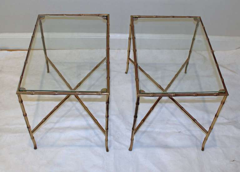 Mid-20th Century Pair of Bagues Style Faux Brass Bamboo End Side Tables For Sale