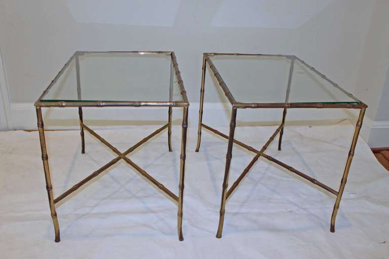 Pair of Bagues Style Faux Brass Bamboo End Side Tables In Excellent Condition For Sale In Palm Springs, CA