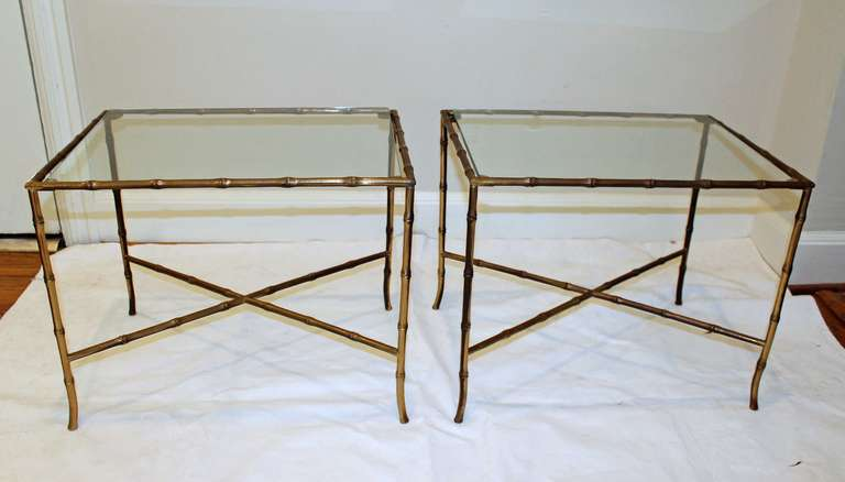 French Pair of Bagues Style Faux Brass Bamboo End Side Tables For Sale