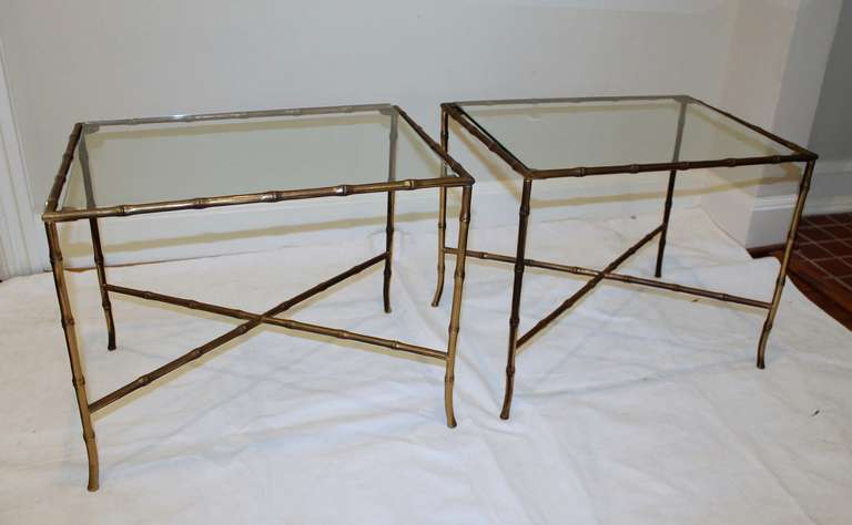 Pair of Bagues Style Faux Brass Bamboo End Side Tables For Sale 5