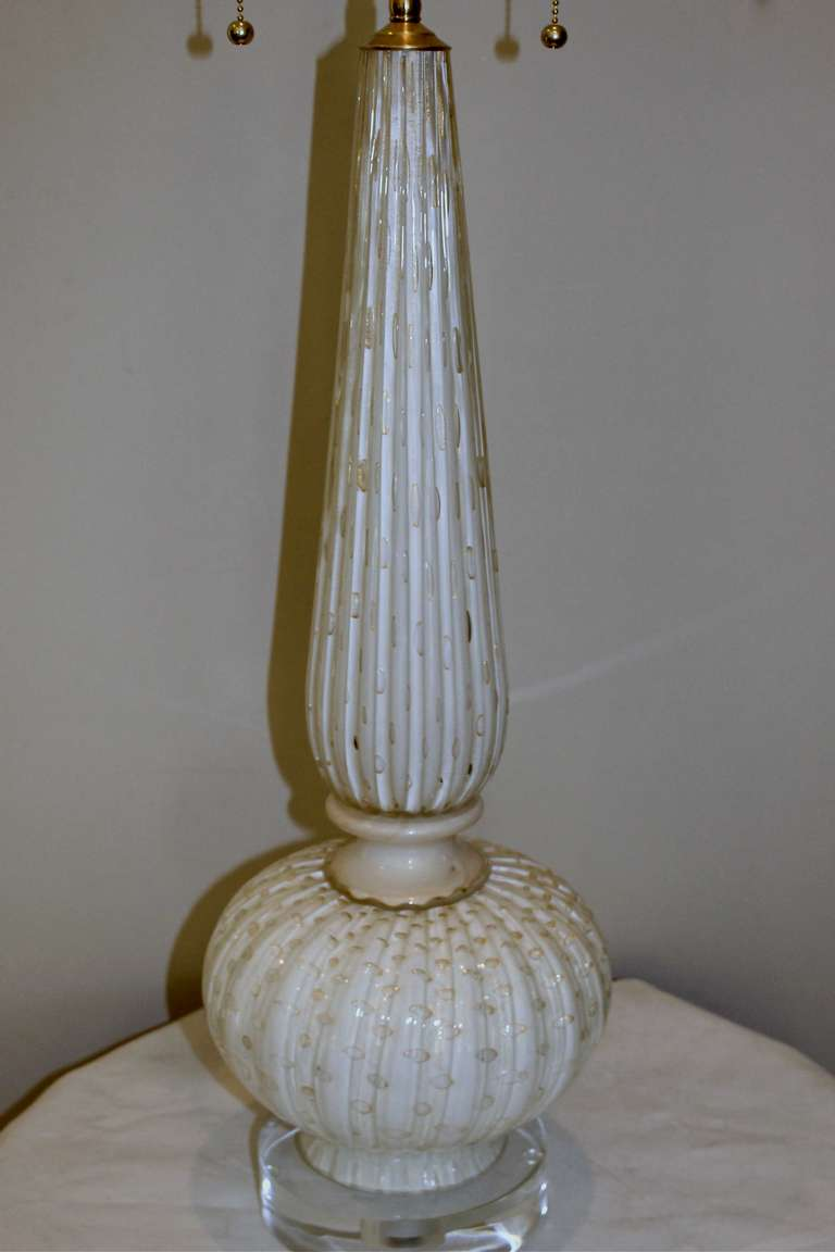 Tall Murano White Gold Controlled Bubbles Table Lamp At