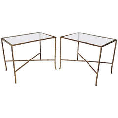 Pair of Bagues Style Faux Brass Bamboo End Side Tables