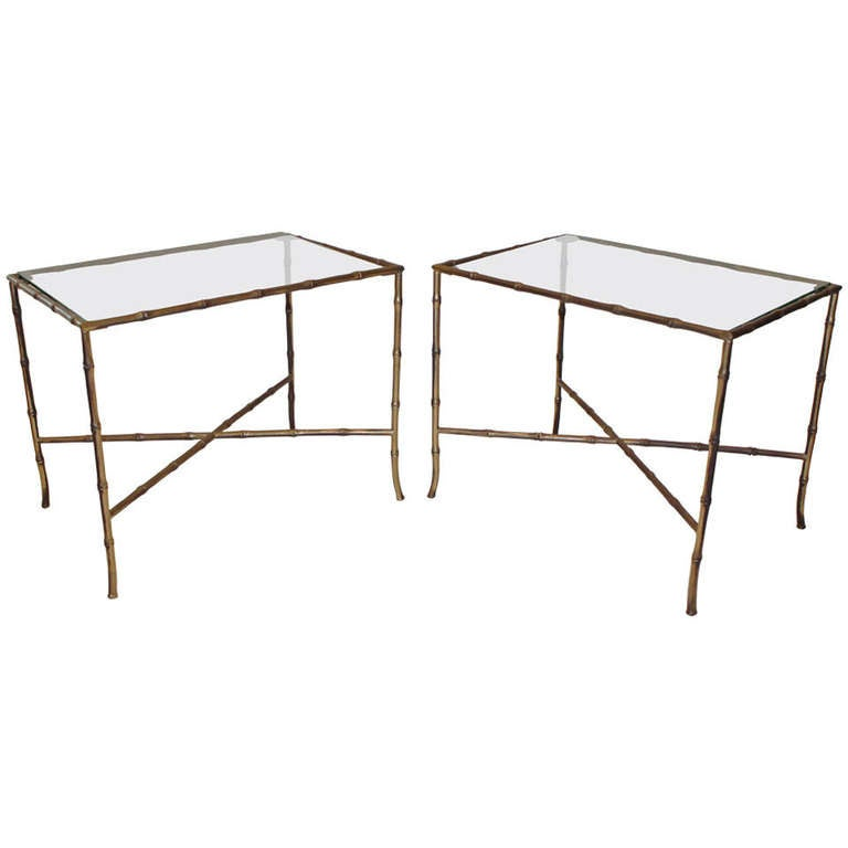 Pair of Bagues Style Faux Brass Bamboo End Side Tables For Sale