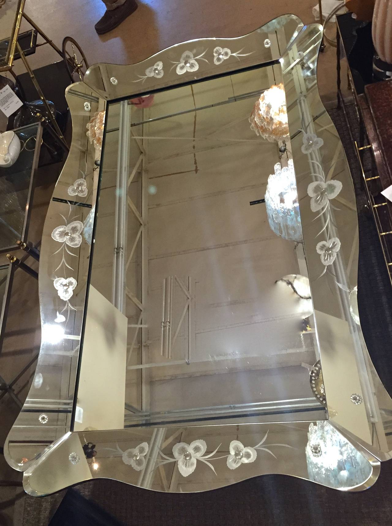 Large Art Deco Etched Curved Edge Wall Mirror At 1stdibs