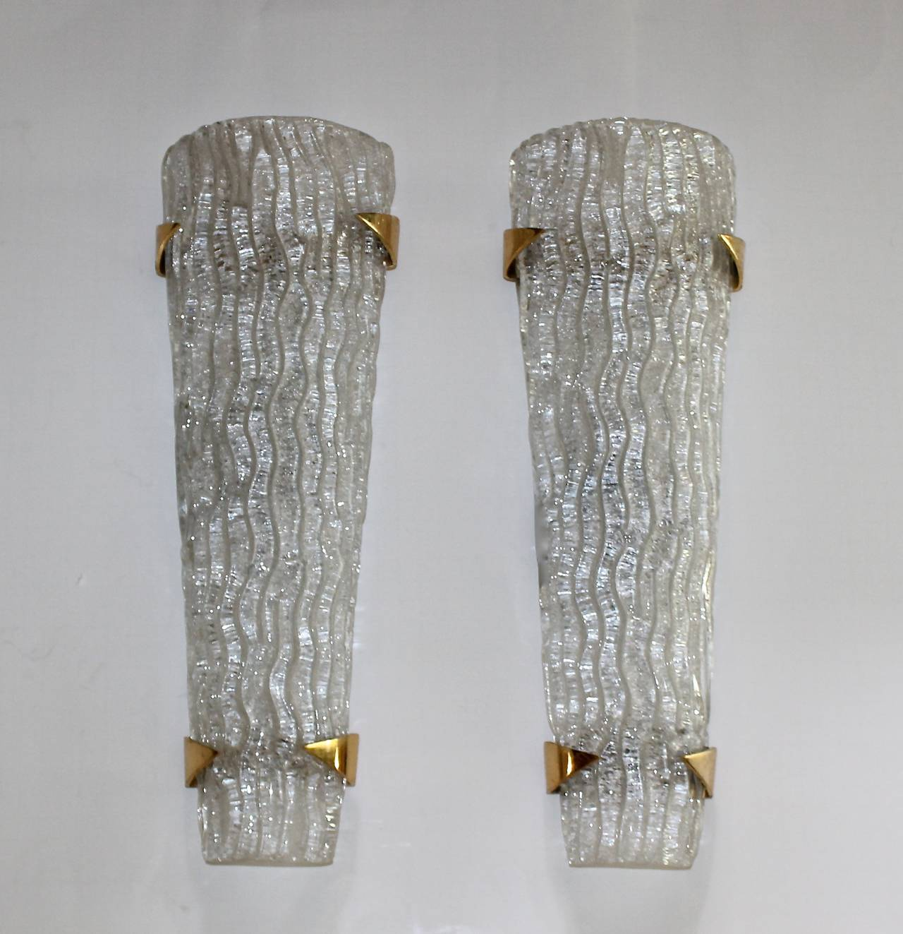 Large Glass Wall Sconces : Large Pair of Murano Rugiadoso Glass Wall Sconces at 1stdibs
