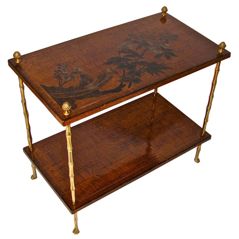Bagues french chinoiserie bronze faux bamboo side end for Bamboo side table