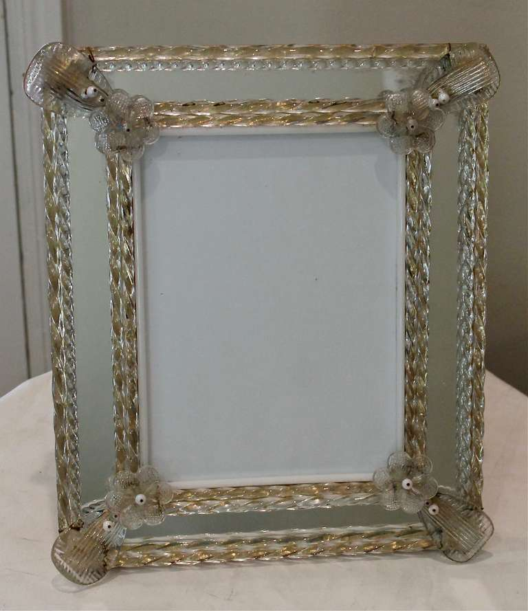 exceptional large murano venetian glass picture frame at