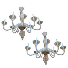 Pair of Murano Italian Glass White Gold Chandeliers