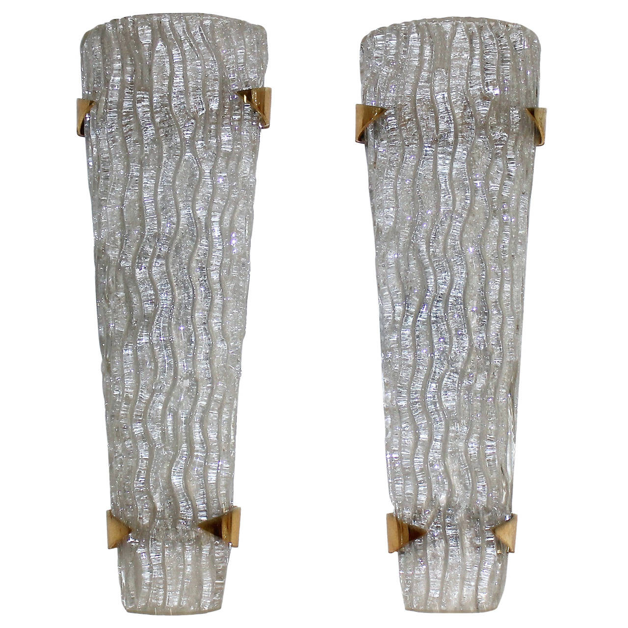 Tall Glass Wall Sconces : Large Pair of Murano Rugiadoso Glass Wall Sconces at 1stdibs