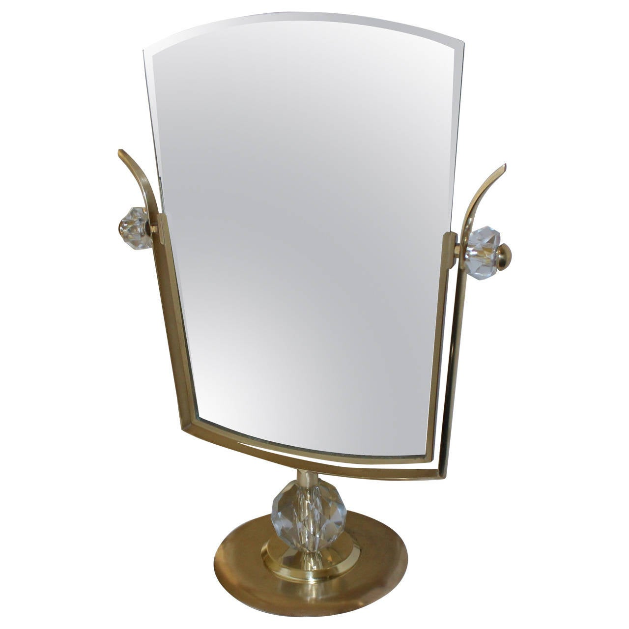Large italian gio ponti style brass vanity mirror at 1stdibs for Large vanity mirror