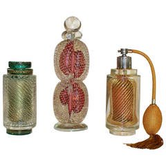 Set Three Murano Perfume Bottles, Atomizer