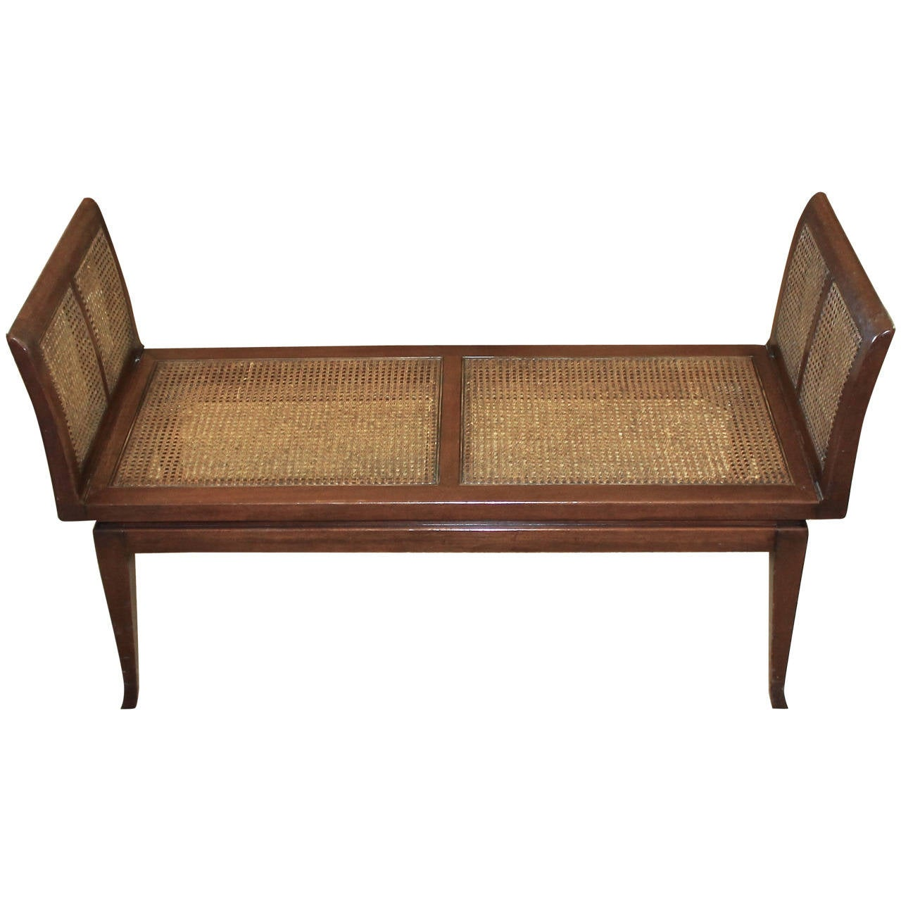 dunbar style midcentury wood cane bench for sale at 1stdibs