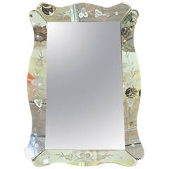 Large Art Deco Etched Curved Edge Wall Mirror